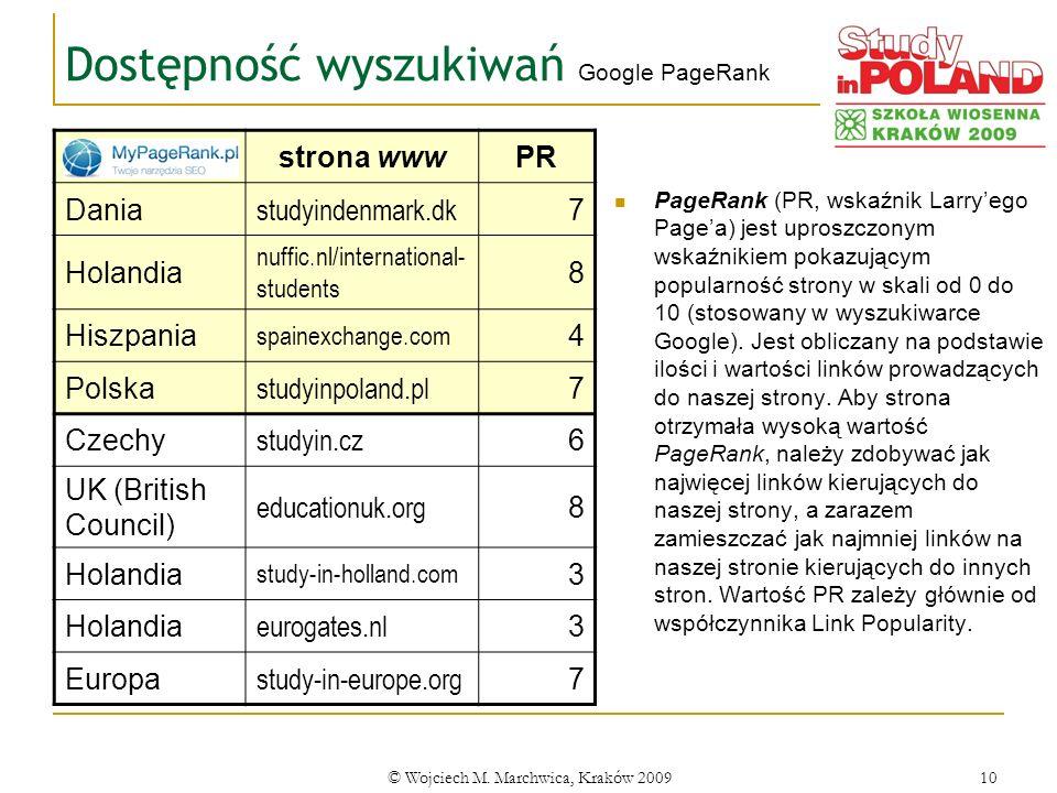 © Wojciech M. Marchwica, Kraków 200910 Dostępność wyszukiwań Google PageRank PageRank (PR, wskaźnik Larryego Pagea) jest uproszczonym wskaźnikiem poka
