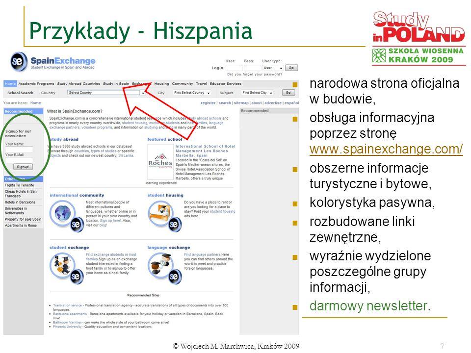 © Wojciech M. Marchwica, Kraków 20097 Przykłady - Hiszpania narodowa strona oficjalna w budowie, obsługa informacyjna poprzez stronę www.spainexchange