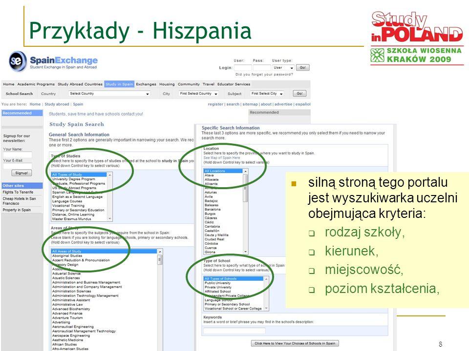 © Wojciech M. Marchwica, Kraków 20098 Przykłady - Hiszpania silną stroną tego portalu jest wyszukiwarka uczelni obejmująca kryteria: rodzaj szkoły, ki