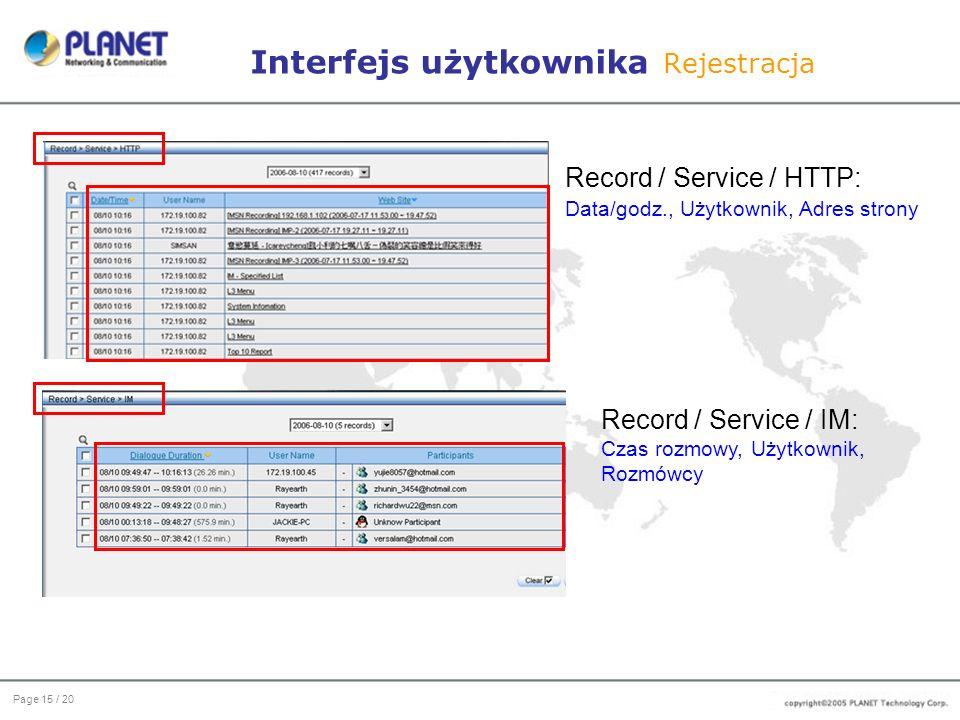 Page 15 / 20 Interfejs użytkownika Rejestracja Record / Service / HTTP: Data/godz., Użytkownik, Adres strony Record / Service / IM: Czas rozmowy, Użytkownik, Rozmówcy