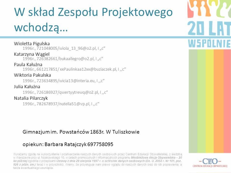W skład Zespołu Projektowego wchodzą… Wioletta Pigulska 1996r., 721048005/wiola_13_96@o2.pl, I c Katarzyna Wągiel 1996r., 726382661/bukaallegro@o2.pl,