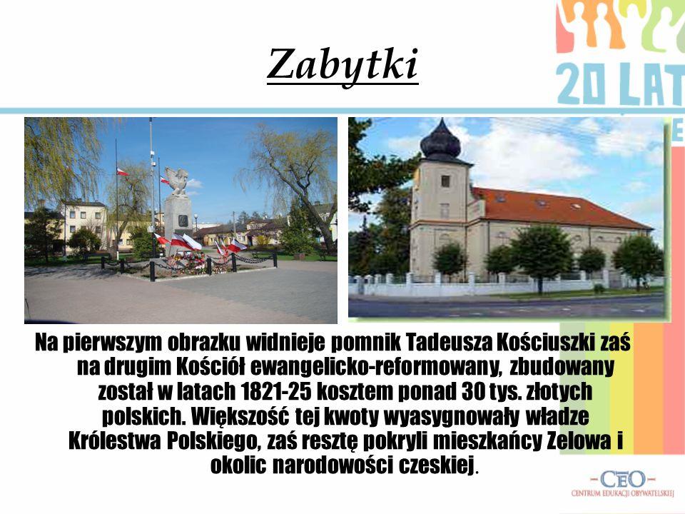 Zabytki Na pierwszym obrazku widnieje pomnik Tadeusza Kościuszki zaś na drugim Kościół ewangelicko-reformowany, zbudowany został w latach 1821-25 kosz