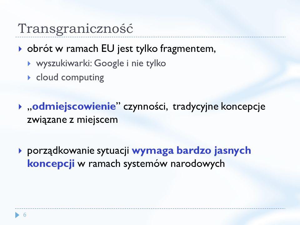 6 Transgraniczność obrót w ramach EU jest tylko fragmentem, wyszukiwarki: Google i nie tylko cloud computing odmiejscowienie czynności, tradycyjne koncepcje związane z miejscem porządkowanie sytuacji wymaga bardzo jasnych koncepcji w ramach systemów narodowych