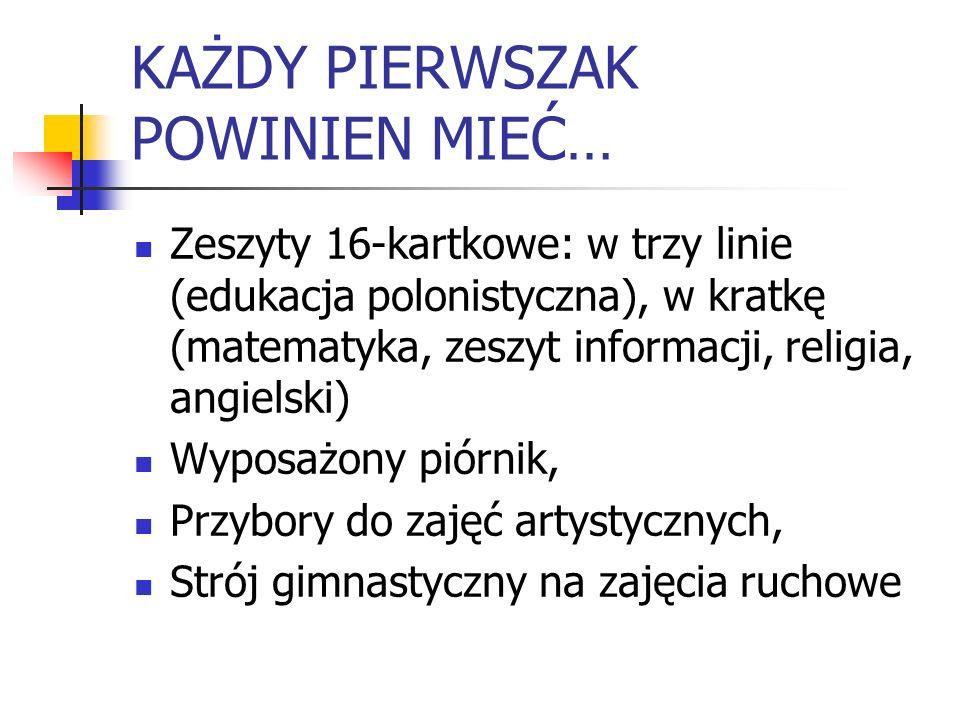 KAŻDY PIERWSZAK POWINIEN MIEĆ… Zeszyty 16-kartkowe: w trzy linie (edukacja polonistyczna), w kratkę (matematyka, zeszyt informacji, religia, angielski