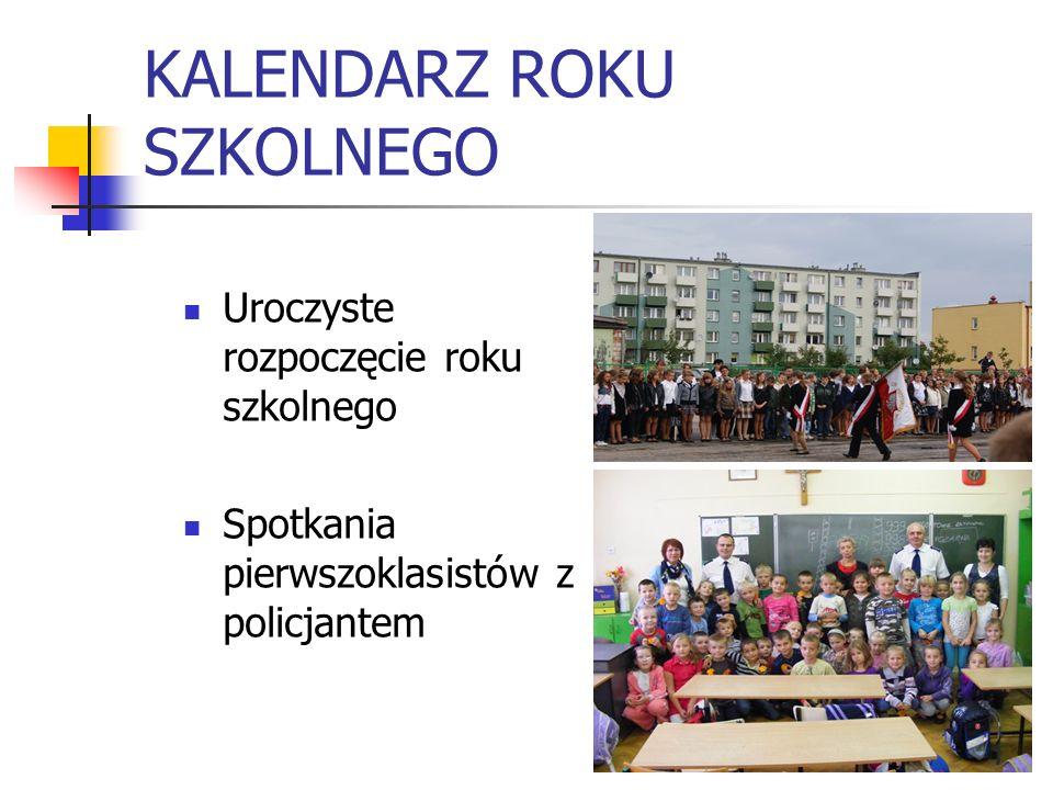 KALENDARZ ROKU SZKOLNEGO Uroczyste rozpoczęcie roku szkolnego Spotkania pierwszoklasistów z policjantem