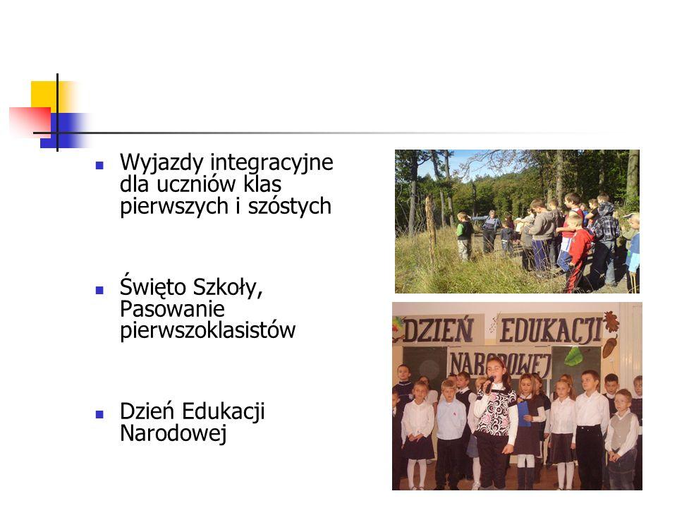 Wyjazdy integracyjne dla uczniów klas pierwszych i szóstych Święto Szkoły, Pasowanie pierwszoklasistów Dzień Edukacji Narodowej