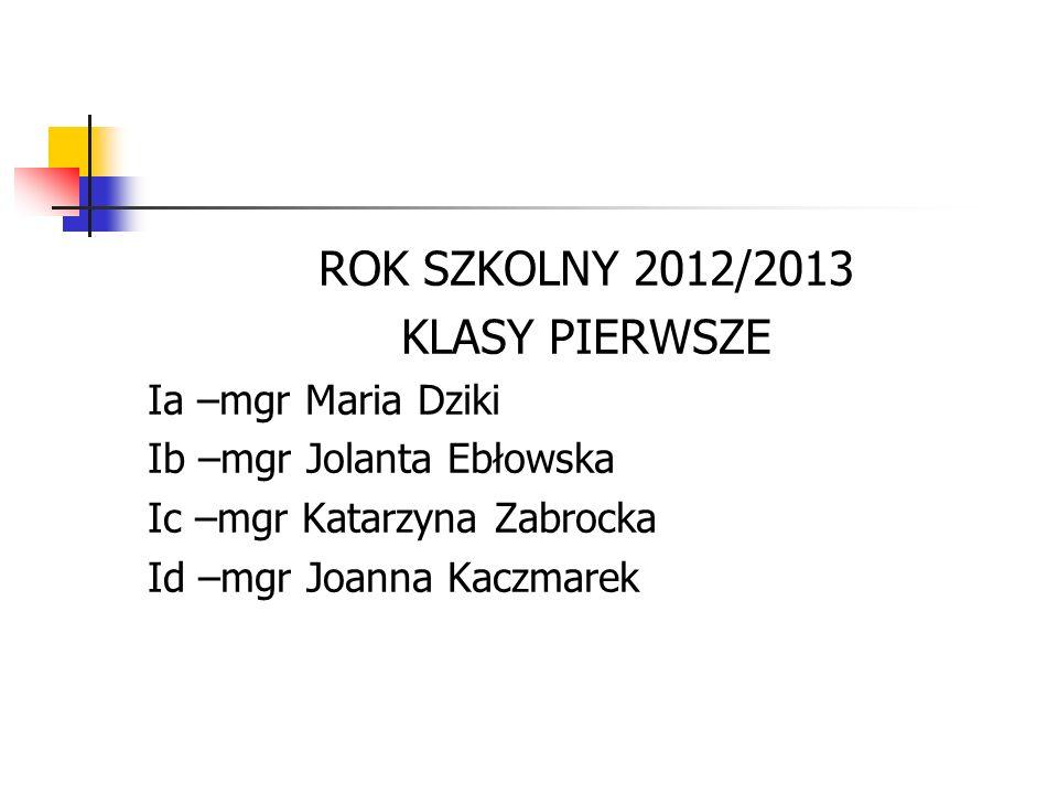 ROK SZKOLNY 2012/2013 KLASY PIERWSZE Ia –mgr Maria Dziki Ib –mgr Jolanta Ebłowska Ic –mgr Katarzyna Zabrocka Id –mgr Joanna Kaczmarek