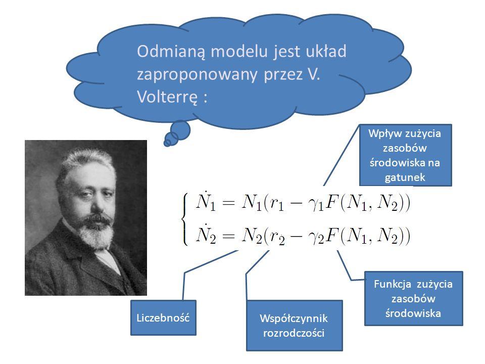 Odmianą modelu jest układ zaproponowany przez V. Volterrę : Funkcja zużycia zasobów środowiska Wpływ zużycia zasobów środowiska na gatunek Liczebność