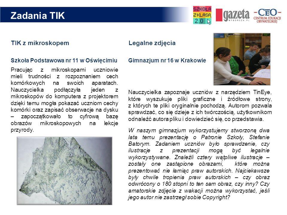 TIK z mikroskopem Legalne zdjęcia Nauczycielka zapoznaje uczniów z narzędziem TinEye, które wyszukuje pliki graficzne i źródłowe strony, z których te