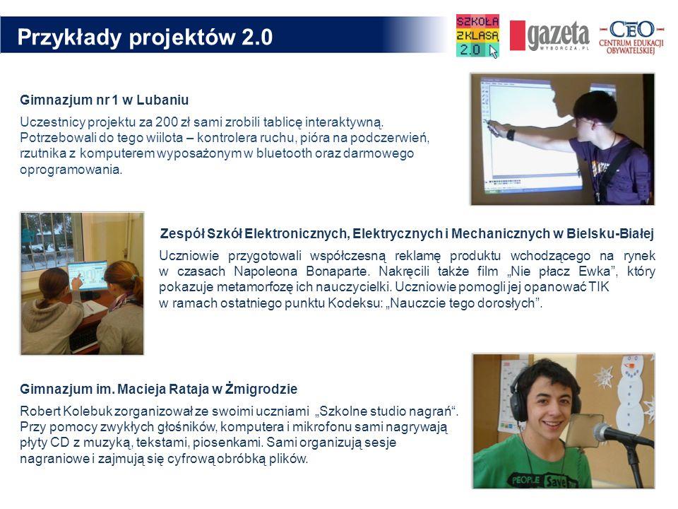 Przykłady projektów 2.0 Gimnazjum nr 1 w Lubaniu Uczestnicy projektu za 200 zł sami zrobili tablicę interaktywną. Potrzebowali do tego wiilota – kontr