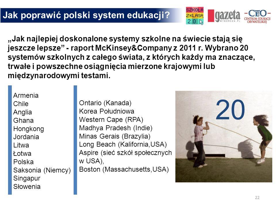 22 Jak poprawić polski system edukacji? Jak najlepiej doskonalone systemy szkolne na świecie stają się jeszcze lepsze - raport McKinsey&Company z 2011