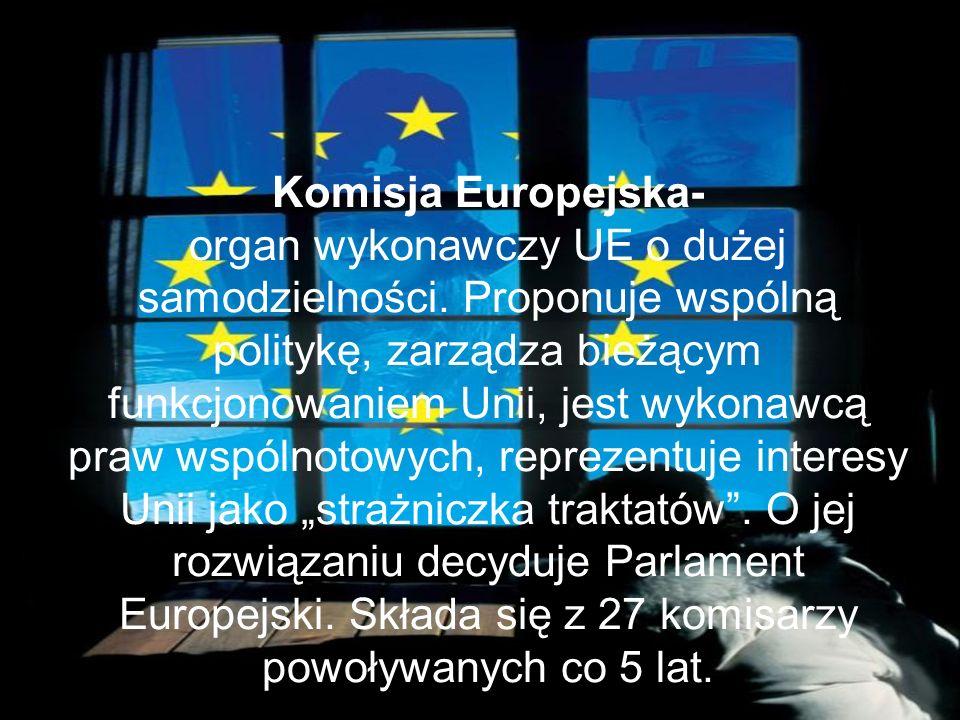 Komisja Europejska- organ wykonawczy UE o dużej samodzielności.