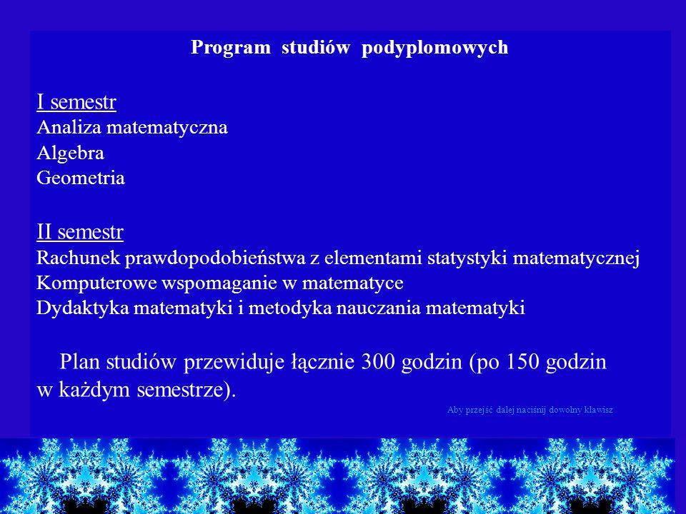 Program studiów podyplomowych I semestr Analiza matematyczna Algebra Geometria II semestr Rachunek prawdopodobieństwa z elementami statystyki matematy