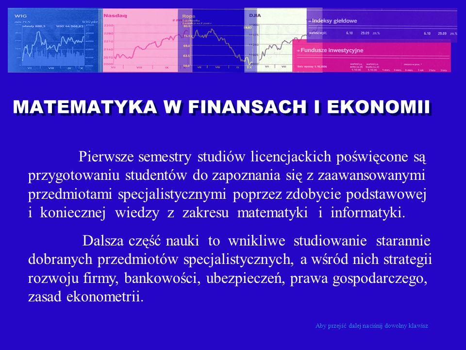 MATEMATYKA W FINANSACH I EKONOMII Pierwsze semestry studiów licencjackich poświęcone są przygotowaniu studentów do zapoznania się z zaawansowanymi prz