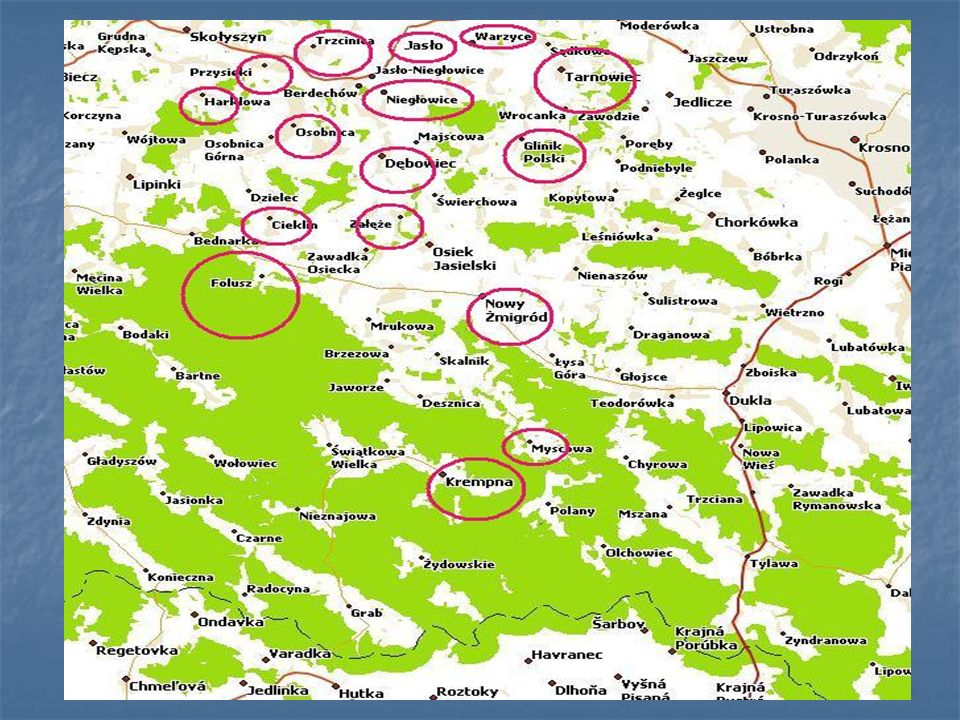 Na mapie zostały zaznaczone zaśmiecone miejsca, ze względu iż są to miejscowości wypoczynkowe takie jak: Krempna Folusz Myscowa To one w największym s