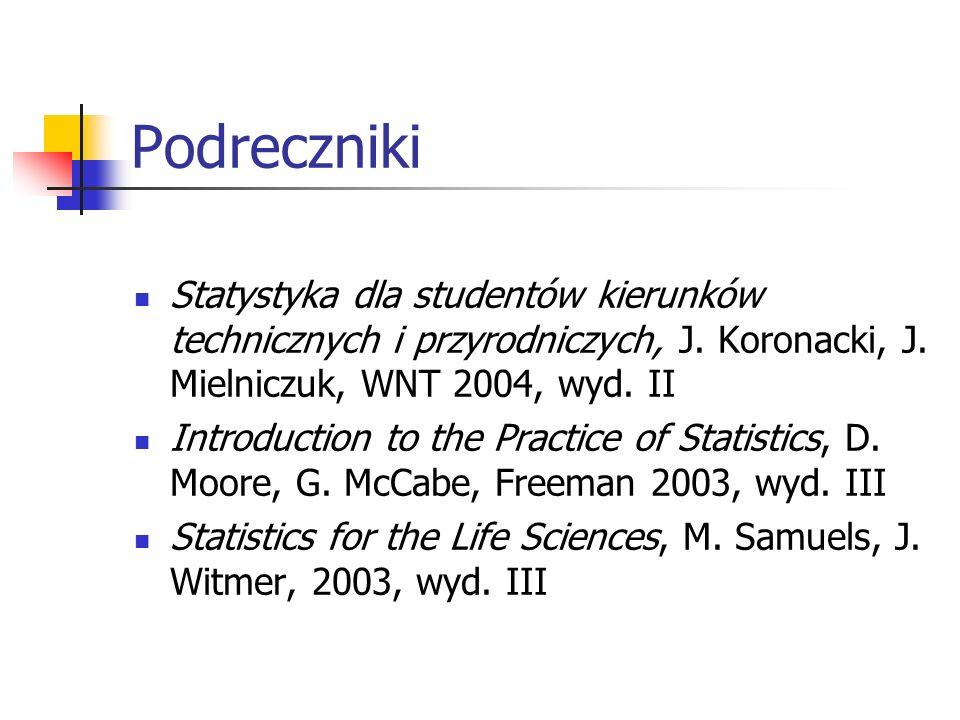Podreczniki Statystyka dla studentów kierunków technicznych i przyrodniczych, J. Koronacki, J. Mielniczuk, WNT 2004, wyd. II Introduction to the Pract