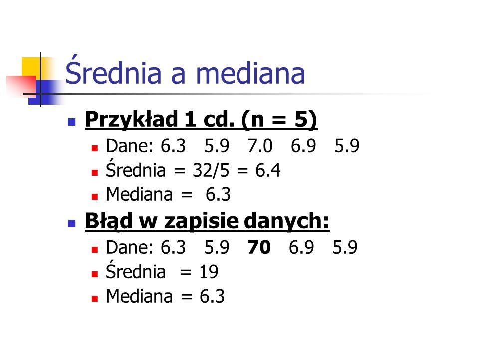 Średnia a mediana Przykład 1 cd. (n = 5) Dane: 6.3 5.9 7.0 6.9 5.9 Średnia = 32/5 = 6.4 Mediana = 6.3 Błąd w zapisie danych: Dane: 6.3 5.9 70 6.9 5.9