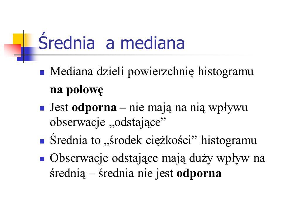 Średnia a mediana Mediana dzieli powierzchnię histogramu na połowę Jest odporna – nie mają na nią wpływu obserwacje odstające Średnia to środek ciężko