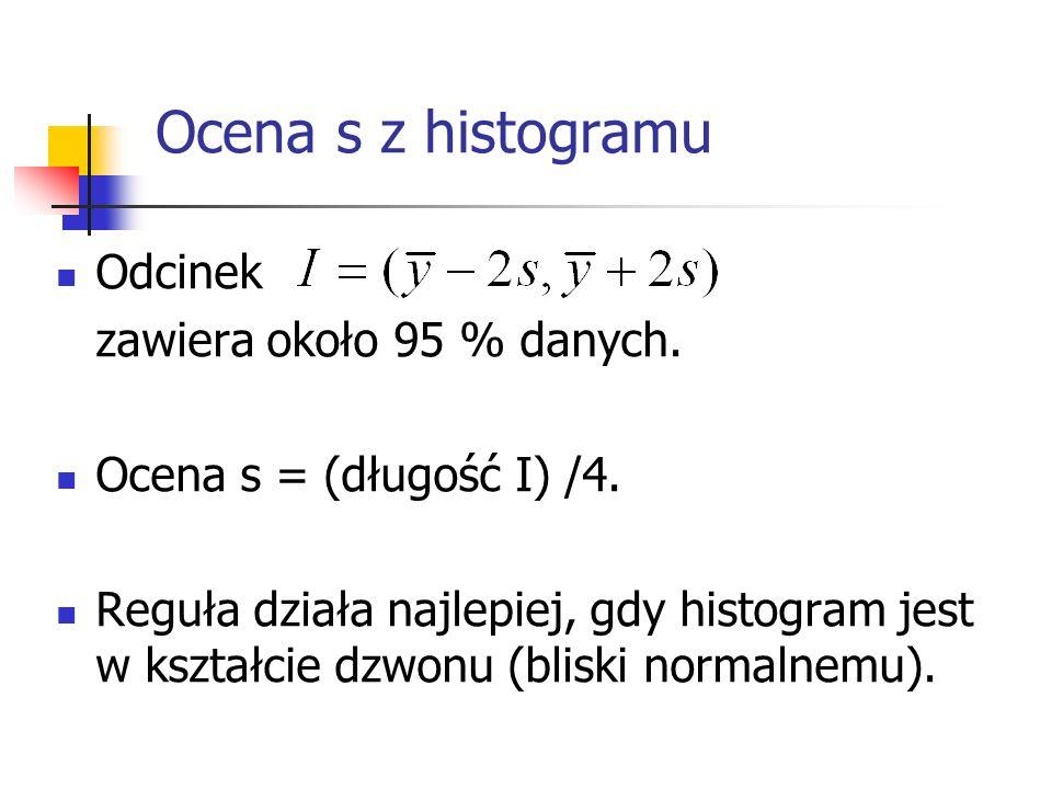 Ocena s z histogramu Odcinek zawiera około 95 % danych. Ocena s = (długość I) /4. Reguła działa najlepiej, gdy histogram jest w kształcie dzwonu (blis