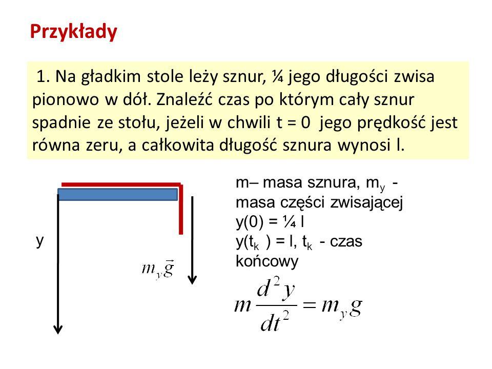 Przykłady 1. Na gładkim stole leży sznur, ¼ jego długości zwisa pionowo w dół. Znaleźć czas po którym cały sznur spadnie ze stołu, jeżeli w chwili t =