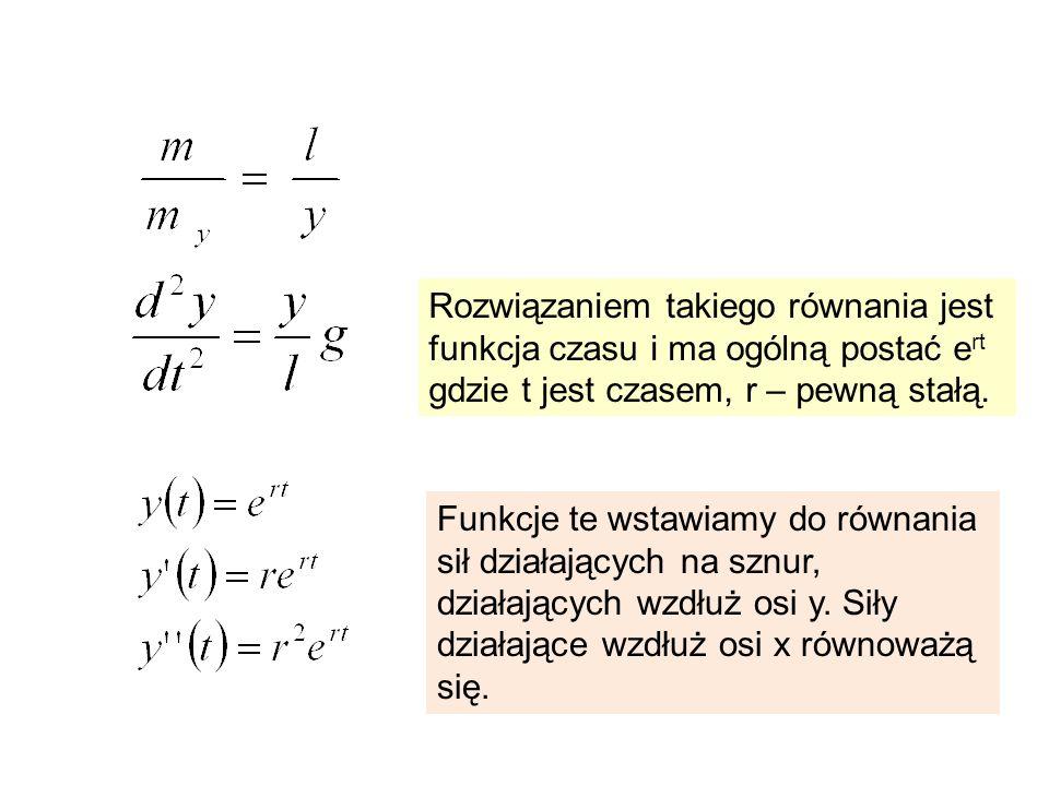Rozwiązaniem takiego równania jest funkcja czasu i ma ogólną postać e rt gdzie t jest czasem, r – pewną stałą. Funkcje te wstawiamy do równania sił dz