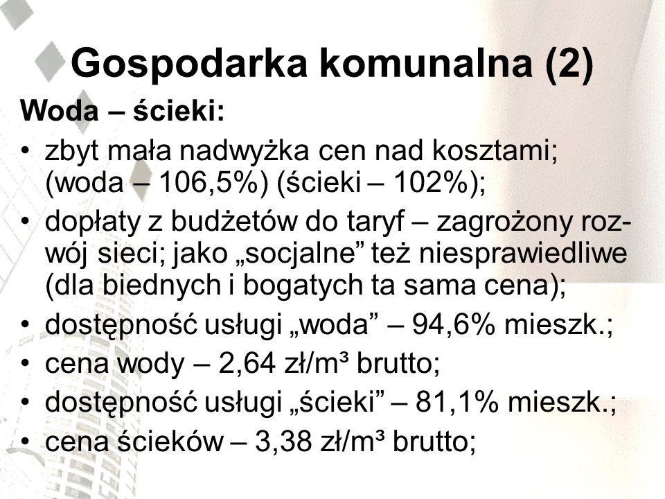 Gospodarka komunalna (2) Woda – ścieki: zbyt mała nadwyżka cen nad kosztami; (woda – 106,5%) (ścieki – 102%); dopłaty z budżetów do taryf – zagrożony
