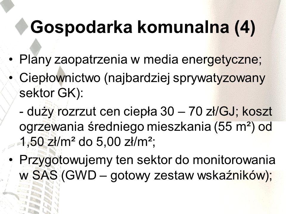 Gospodarka komunalna (4) Plany zaopatrzenia w media energetyczne; Ciepłownictwo (najbardziej sprywatyzowany sektor GK): - duży rozrzut cen ciepła 30 –