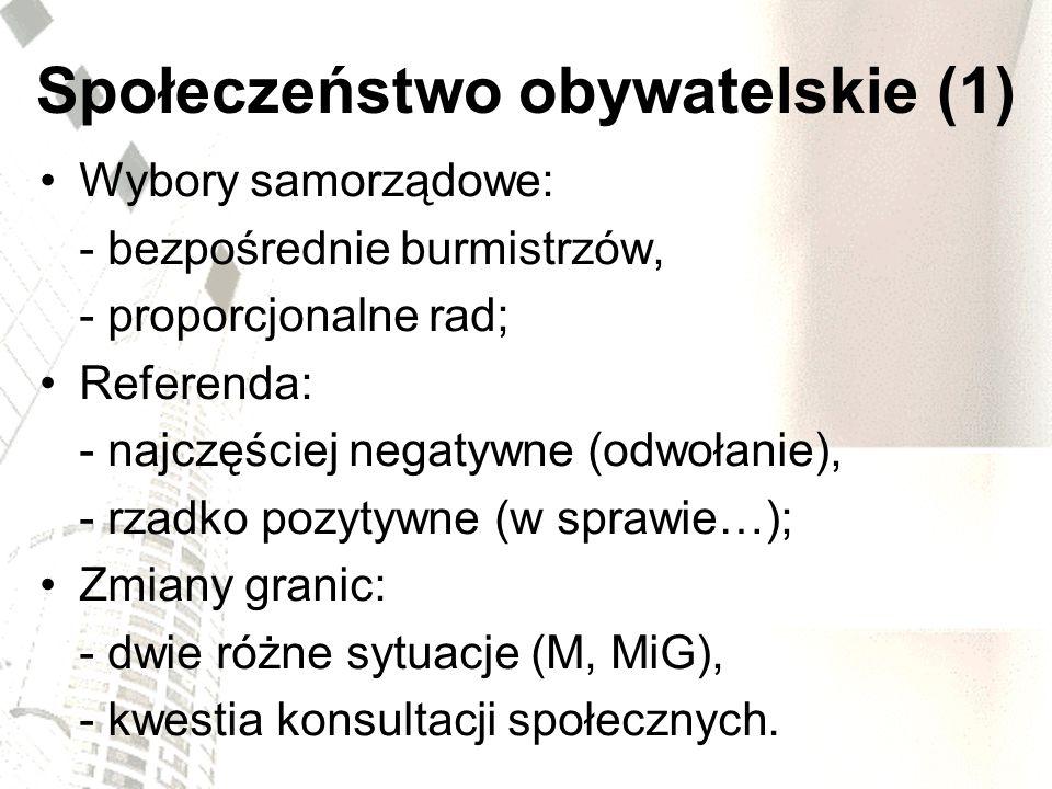 Społeczeństwo obywatelskie (1) Wybory samorządowe: - bezpośrednie burmistrzów, - proporcjonalne rad; Referenda: - najczęściej negatywne (odwołanie), -