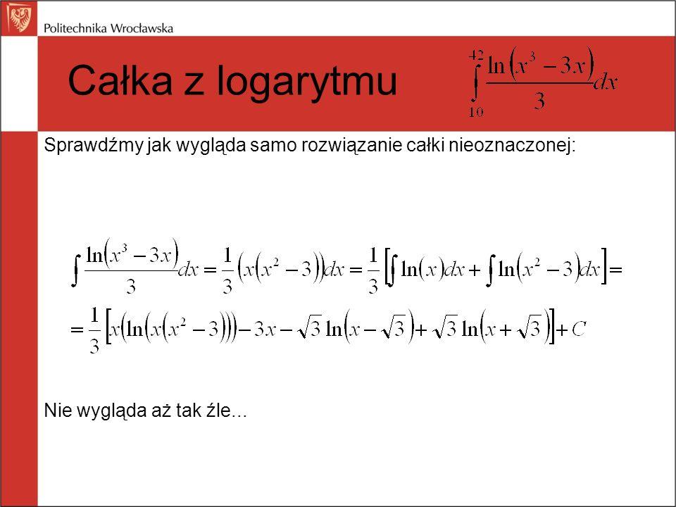 Obliczenia pomocnicze: (Jak widać trochę tego jest...) Całka z logarytmu