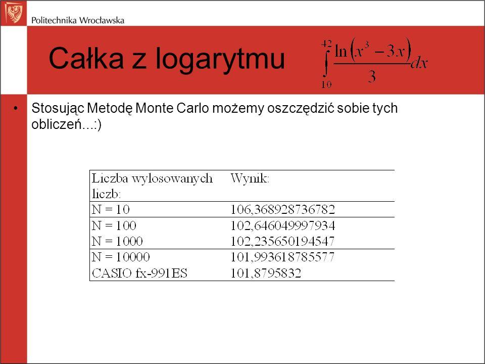 Stosując Metodę Monte Carlo możemy oszczędzić sobie tych obliczeń...:) Całka z logarytmu