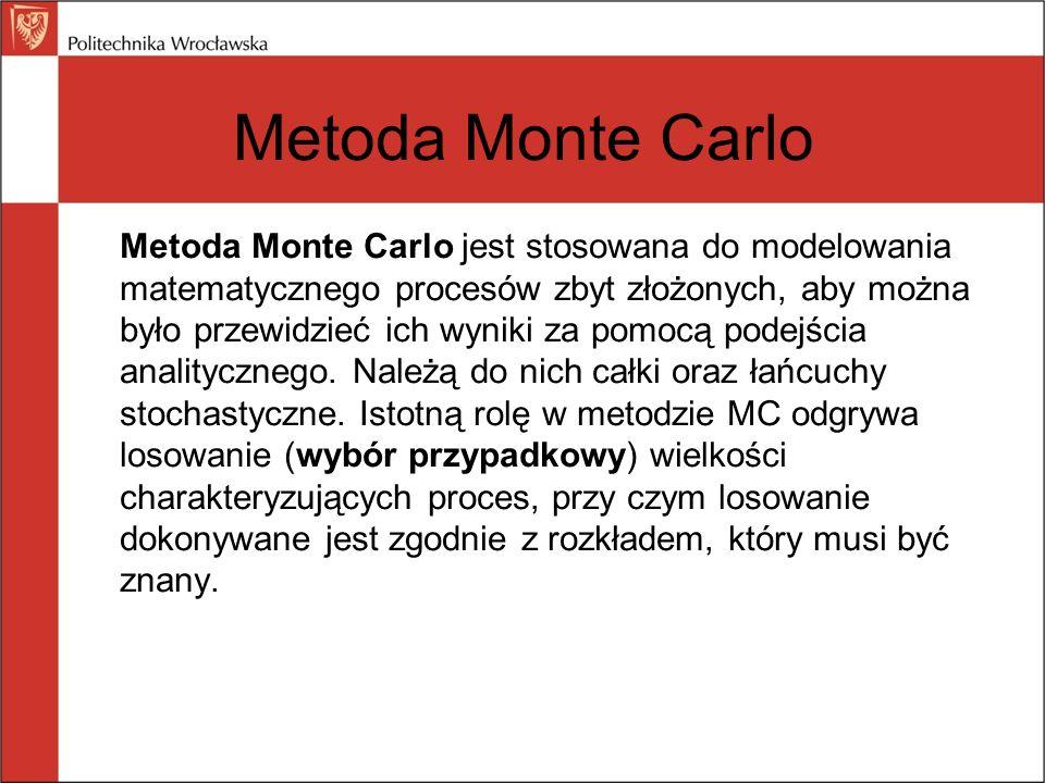 Zastosowanie i dokładność Metoda MC używana jest w przypadkach, kiedy szybkość otrzymania wyniku jest ważniejsza od jego dokładności (np.