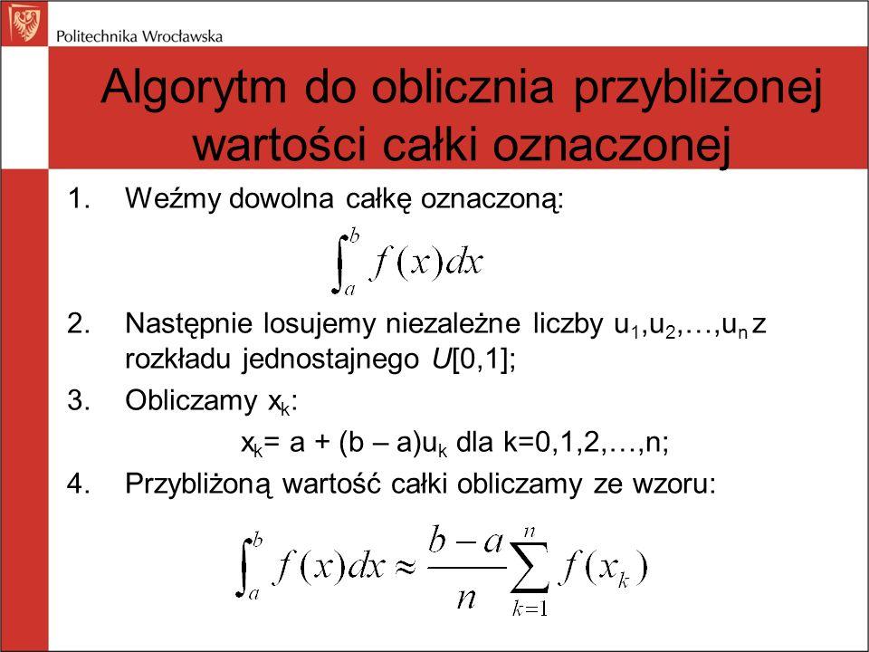 Algorytm do oblicznia przybliżonej wartości całki oznaczonej 1.Weźmy dowolna całkę oznaczoną: 2.Następnie losujemy niezależne liczby u 1,u 2,…,u n z r