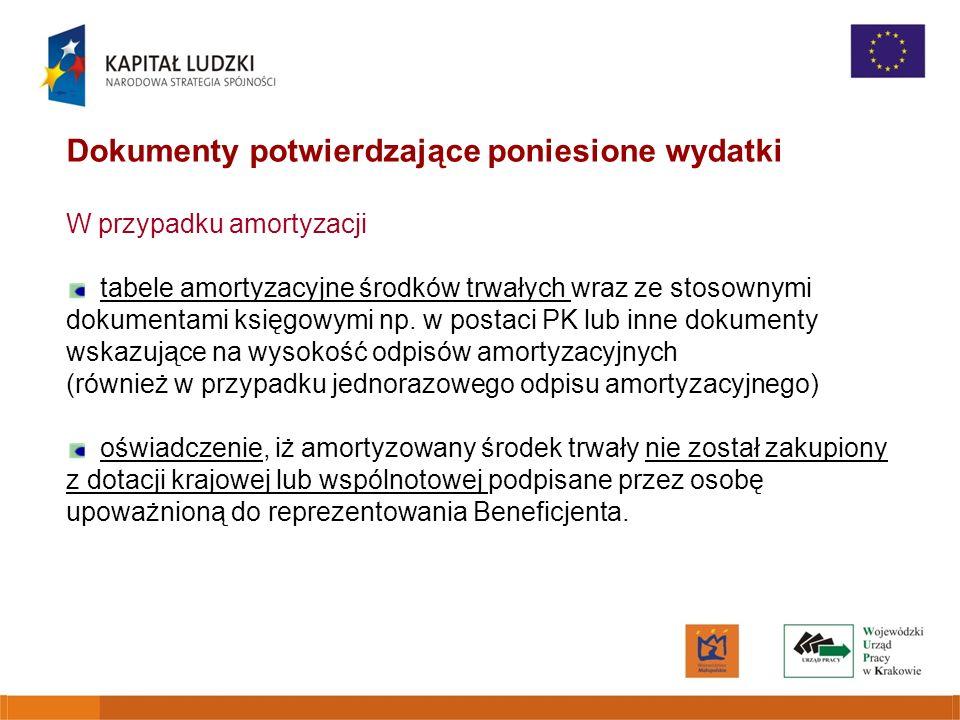 Dokumenty potwierdzające poniesione wydatki W przypadku amortyzacji tabele amortyzacyjne środków trwałych wraz ze stosownymi dokumentami księgowymi np