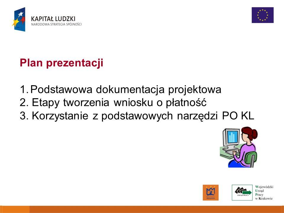 Plan prezentacji 1.Podstawowa dokumentacja projektowa 2. Etapy tworzenia wniosku o płatność 3. Korzystanie z podstawowych narzędzi PO KL