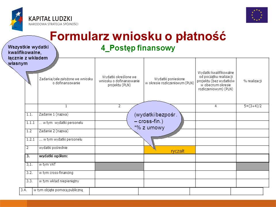 Formularz wniosku o płatność 4_Postęp finansowy Lp. Zadania/cele założone we wniosku o dofinansowanie Wydatki określone we wniosku o dofinansowanie pr