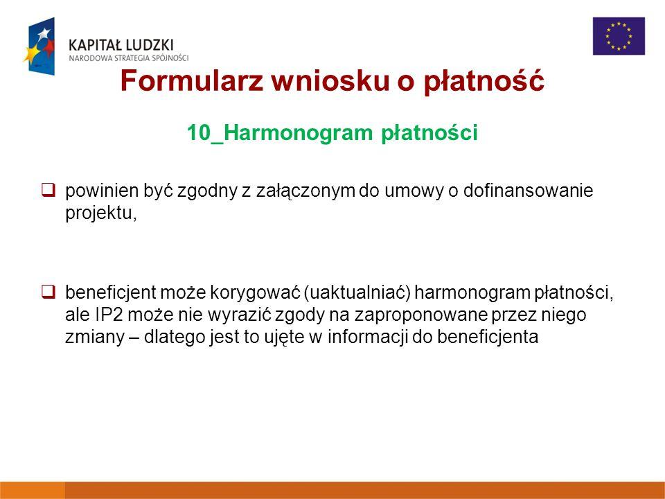Formularz wniosku o płatność 10_Harmonogram płatności powinien być zgodny z załączonym do umowy o dofinansowanie projektu, beneficjent może korygować (uaktualniać) harmonogram płatności, ale IP2 może nie wyrazić zgody na zaproponowane przez niego zmiany – dlatego jest to ujęte w informacji do beneficjenta