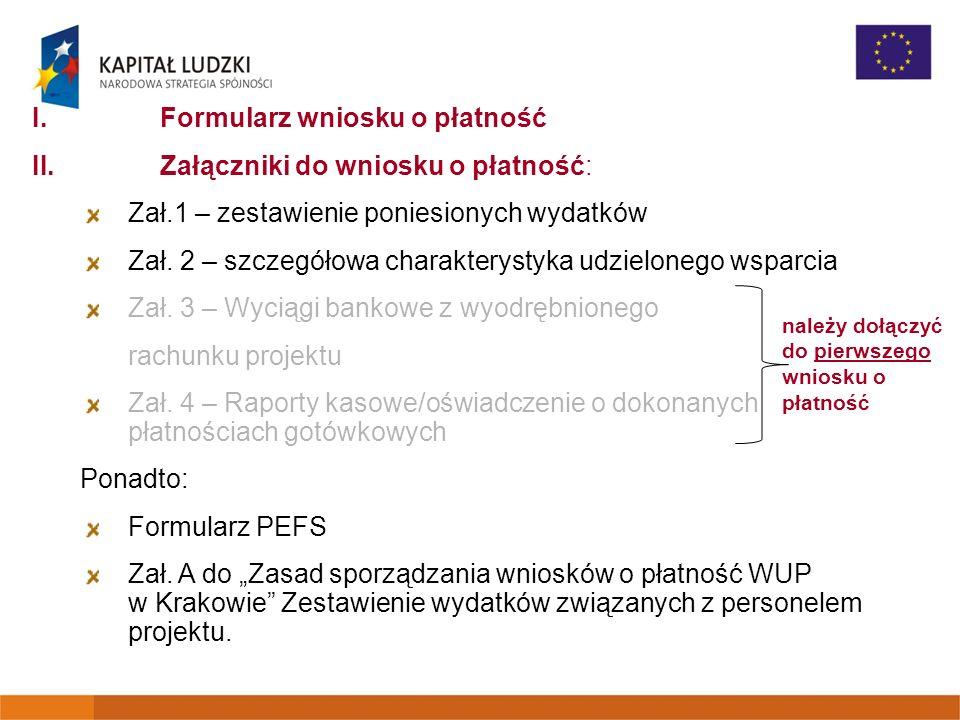 I.Formularz wniosku o płatność II.Załączniki do wniosku o płatność: Zał.1 – zestawienie poniesionych wydatków Zał. 2 – szczegółowa charakterystyka udz