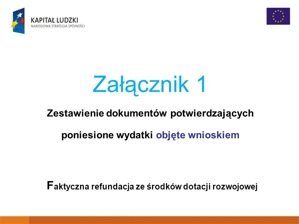 Załącznik 1 Zestawienie dokumentów potwierdzających poniesione wydatki objęte wnioskiem F aktyczna refundacja ze środków dotacji rozwojowej