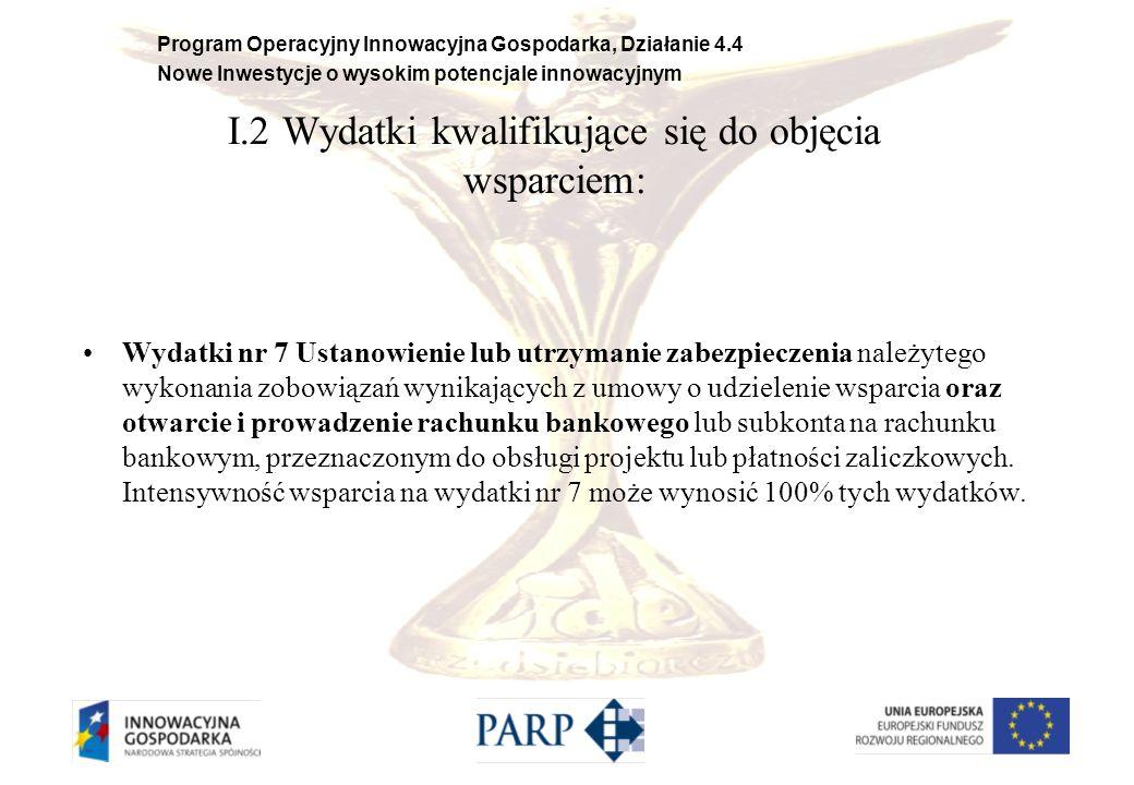 Program Operacyjny Innowacyjna Gospodarka, Działanie 4.4 Nowe Inwestycje o wysokim potencjale innowacyjnym II.