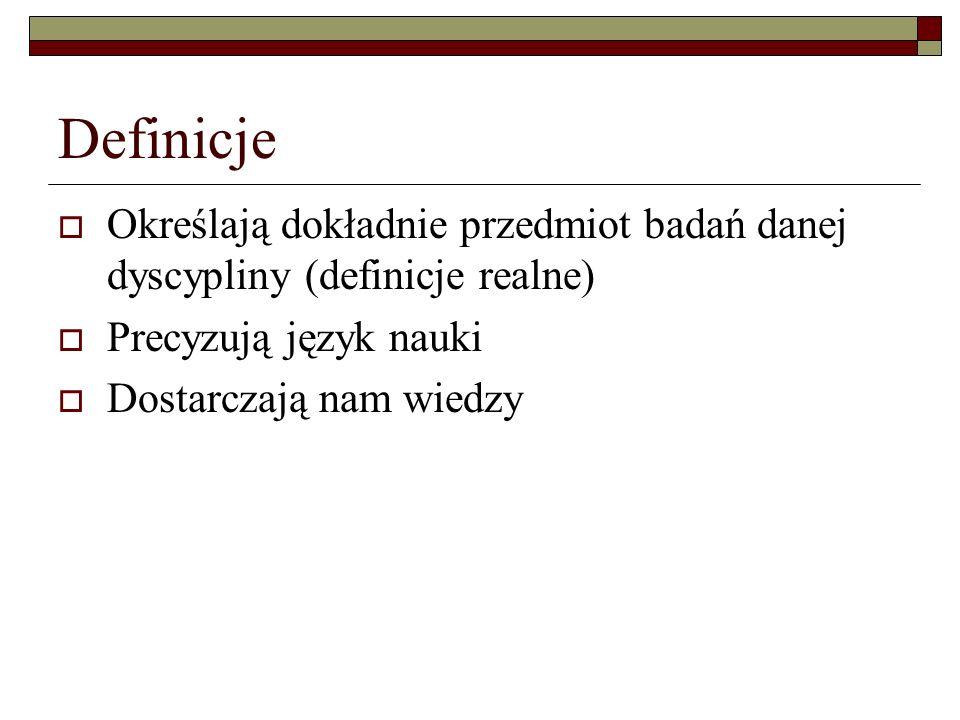 Definiendum (człon definiowany) Łącznik jest to Definiens (człon definiujący) definiendum spójnik definiens Definicje - elementy