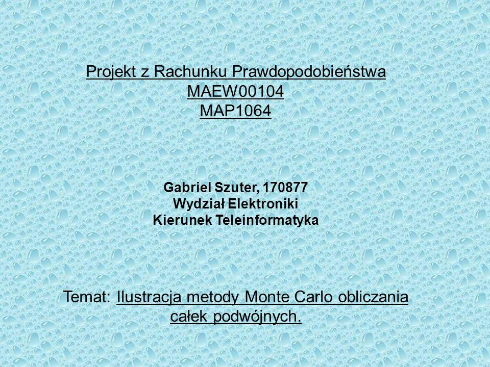 Projekt z Rachunku Prawdopodobieństwa MAEW00104 MAP1064 Gabriel Szuter, 170877 Wydział Elektroniki Kierunek Teleinformatyka Temat: Ilustracja metody M