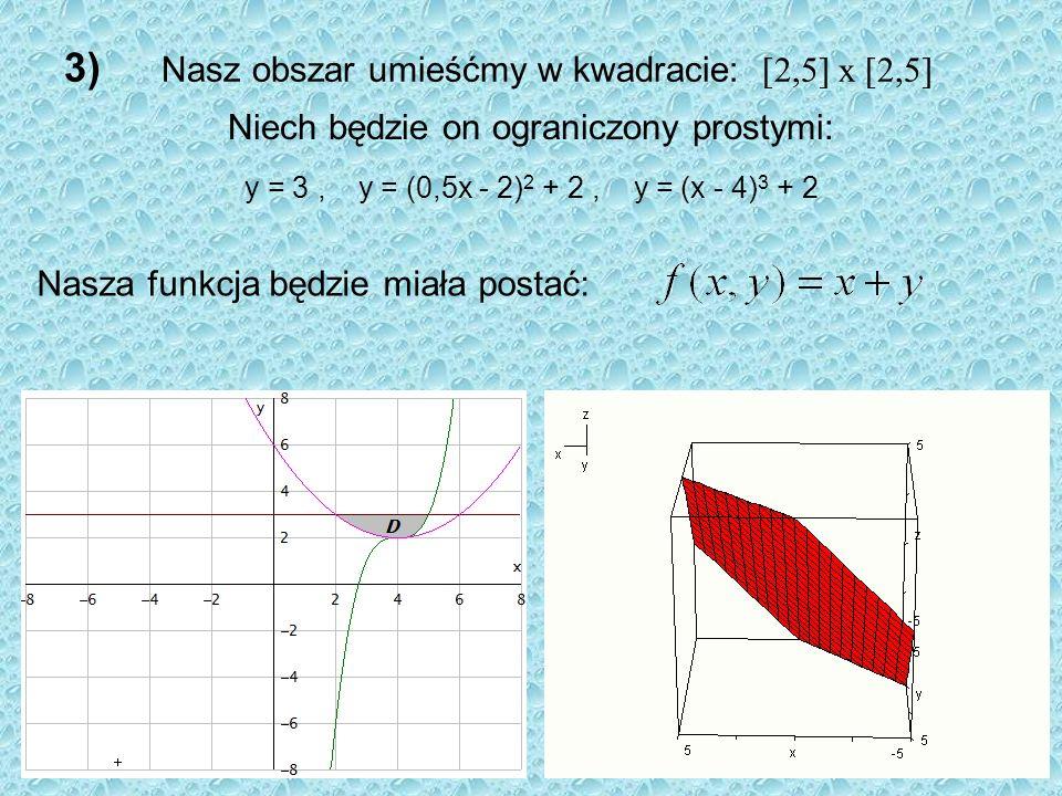 3) Nasz obszar umieśćmy w kwadracie: [2,5] x [2,5] Niech będzie on ograniczony prostymi: Nasza funkcja będzie miała postać: y = 3, y = (0,5x - 2) 2 +