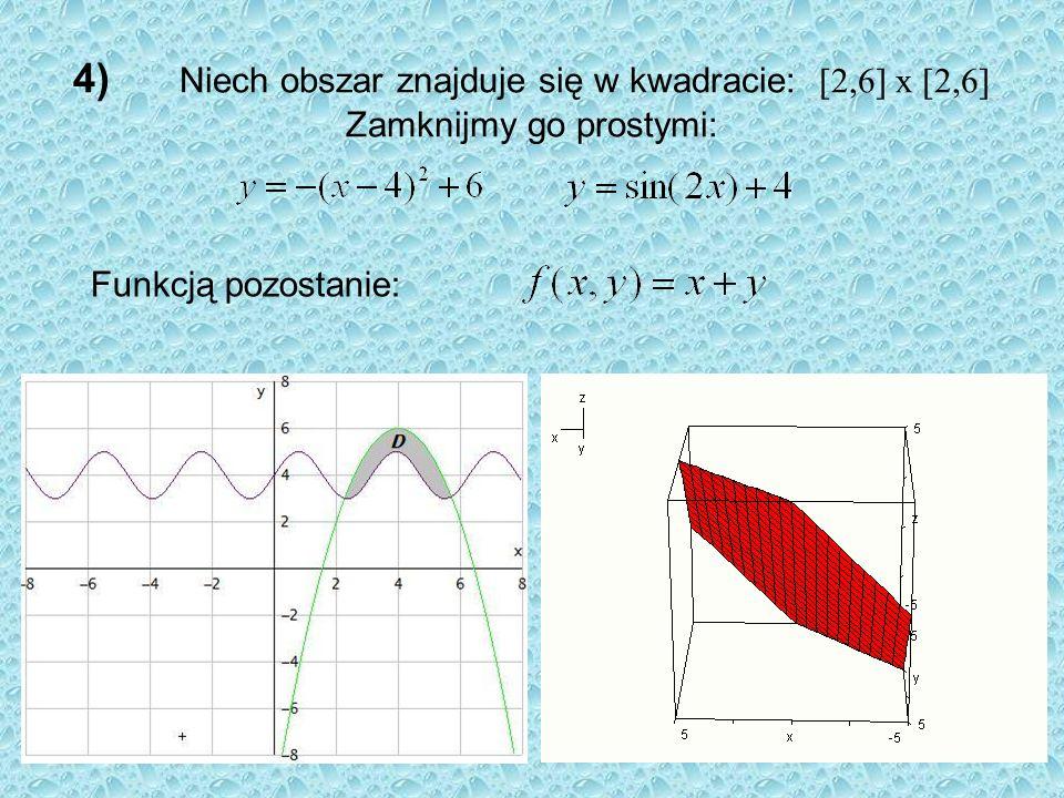 4) Niech obszar znajduje się w kwadracie: [2,6] x [2,6] Zamknijmy go prostymi: Funkcją pozostanie:
