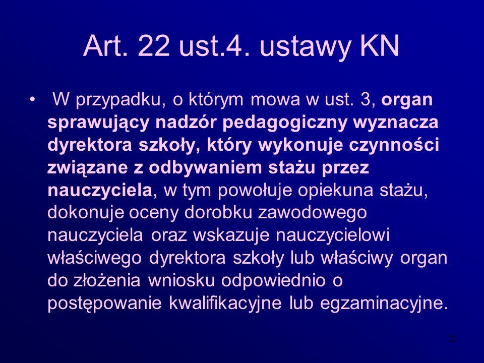 3 Art. 22 ust.4. ustawy KN W przypadku, o którym mowa w ust. 3, organ sprawujący nadzór pedagogiczny wyznacza dyrektora szkoły, który wykonuje czynnoś