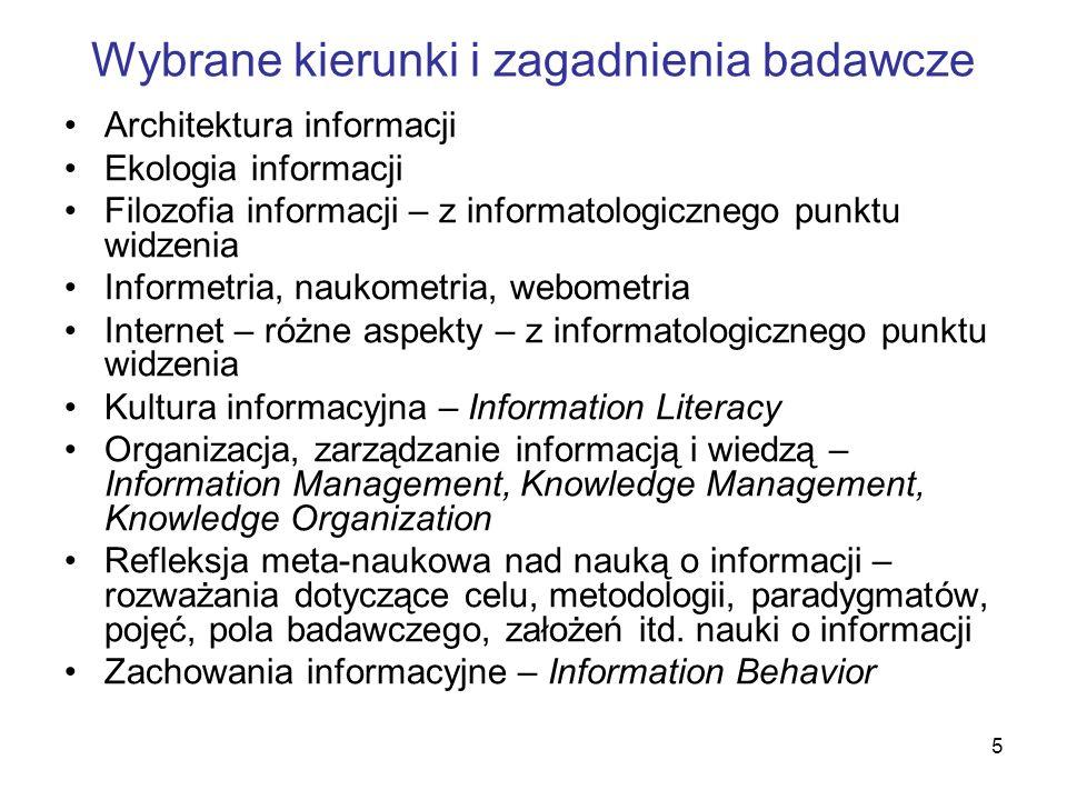 5 Wybrane kierunki i zagadnienia badawcze Architektura informacji Ekologia informacji Filozofia informacji – z informatologicznego punktu widzenia Inf