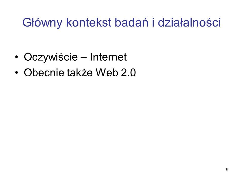 9 Główny kontekst badań i działalności Oczywiście – Internet Obecnie także Web 2.0