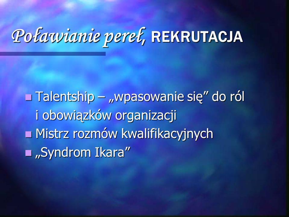 Poławianie pereł, REKRUTACJA Talentship – wpasowanie się do ról Talentship – wpasowanie się do ról i obowiązków organizacji i obowiązków organizacji M
