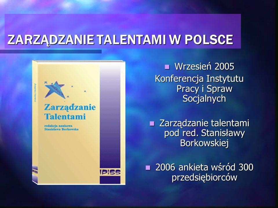 ZARZĄDZANIE TALENTAMI W POLSCE Wrzesień 2005 Konferencja Instytutu Pracy i Spraw Socjalnych Zarządzanie talentami pod red. Stanisławy Borkowskiej 2006