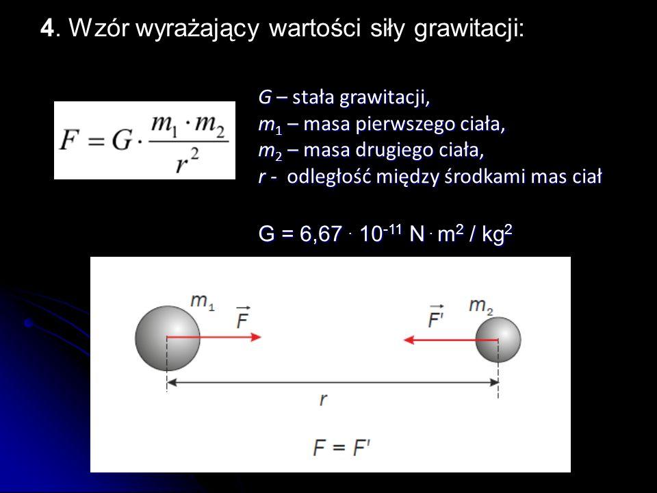G – stała grawitacji, m1 – masa pierwszego ciała, m2 – masa drugiego ciała, r - o o o odległość między środkami mas ciał G = 6,67. 10-11 N. m2 / kg2 4