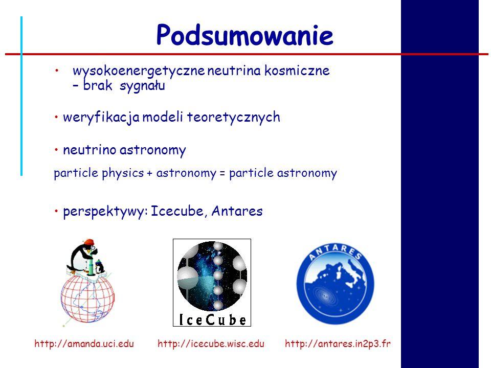 Podsumowanie neutrino astronomy particle physics + astronomy = particle astronomy perspektywy: Icecube, Antares weryfikacja modeli teoretycznych http: